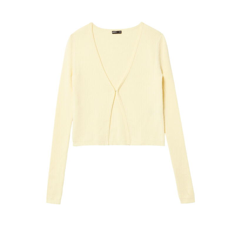 knitted top with hook fastening - pastel yellow;