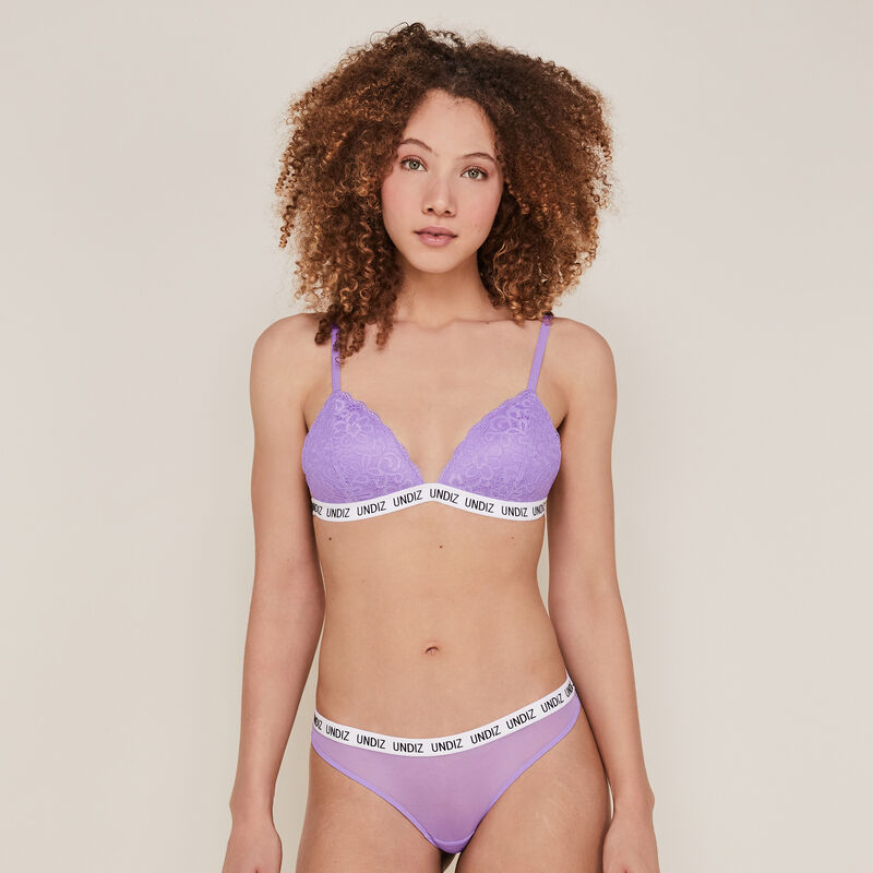 Triangle bra with slogan - lilac;