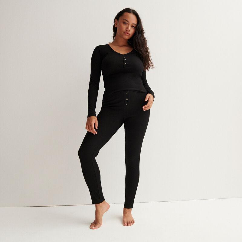 Mottled ribbed leggings - black;