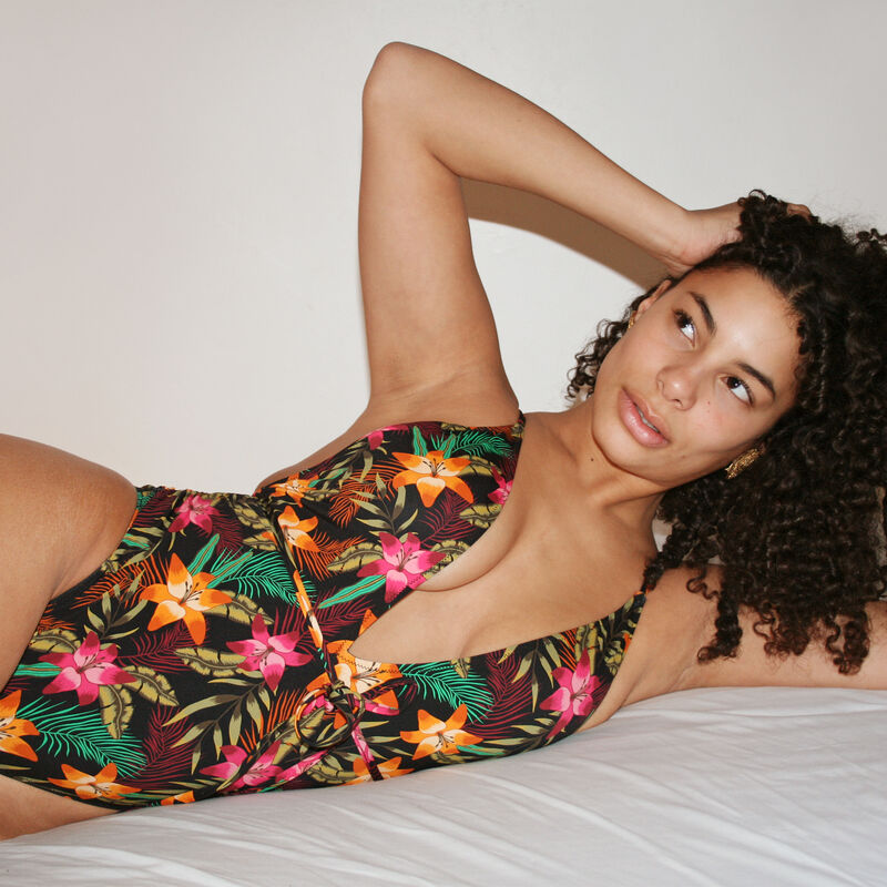 One piece swimsuit with tropical print and tie details - black;