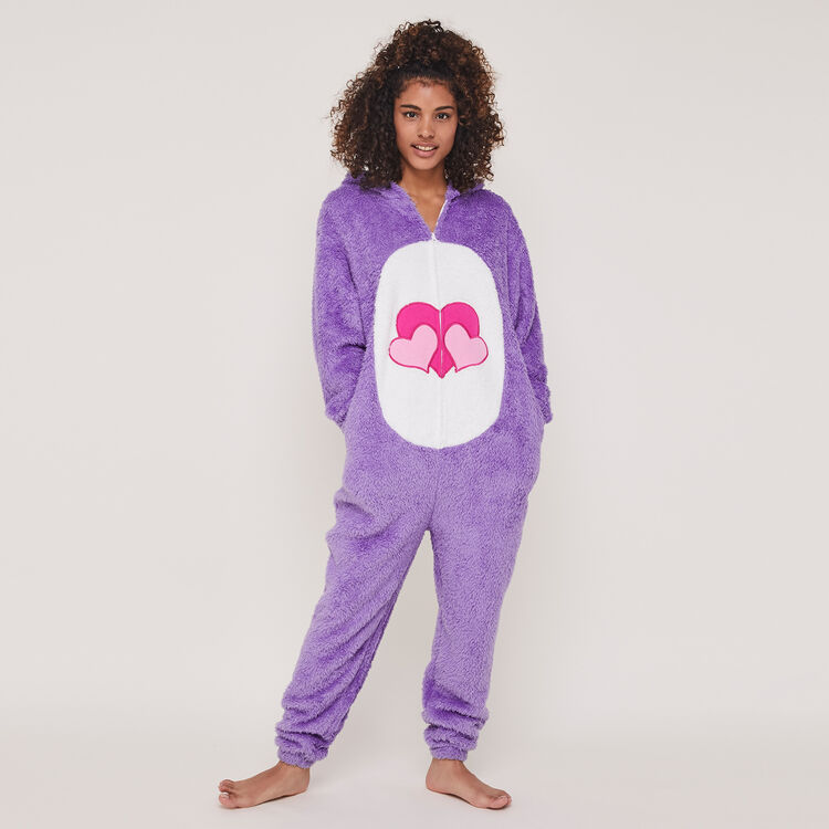 Bisounoursiz care bear print fleece jumpsuit;