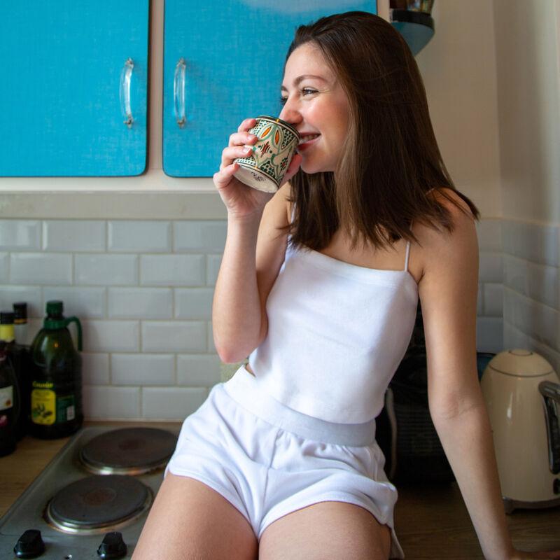 velvet top with thin straps - white;