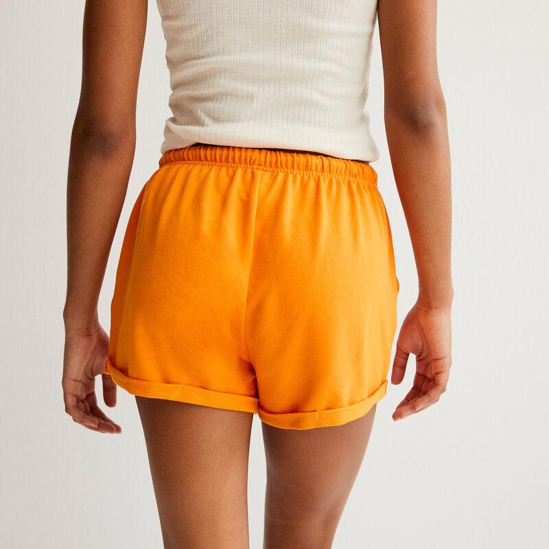 plain shorts with drawstring detail  - orange;