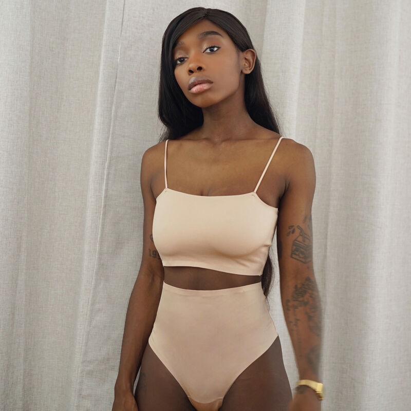 lace wireless bra with spaghetti straps - beige;