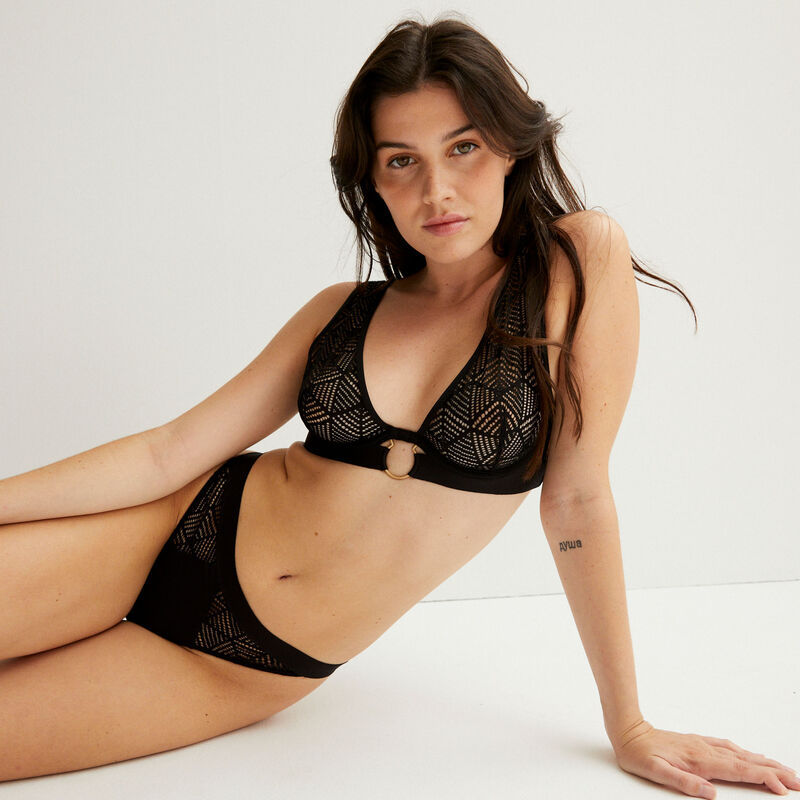 tanga briefs with lace inserts - black;