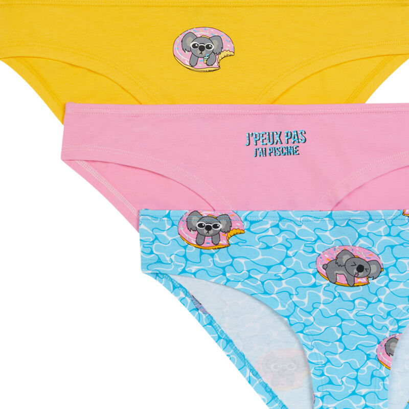 Pack of 3 pairs of knickers with koala print - pink;