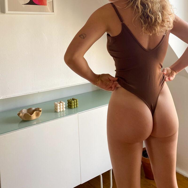 underwired v-neck bodysuit - brown;