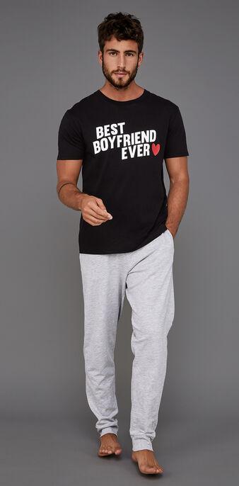 Schwarzes pyjama-set für herren boyfriz black.