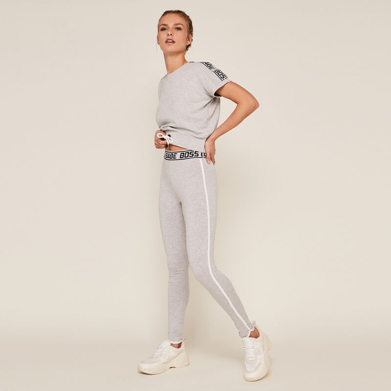 Plain jersey leggings - grey;