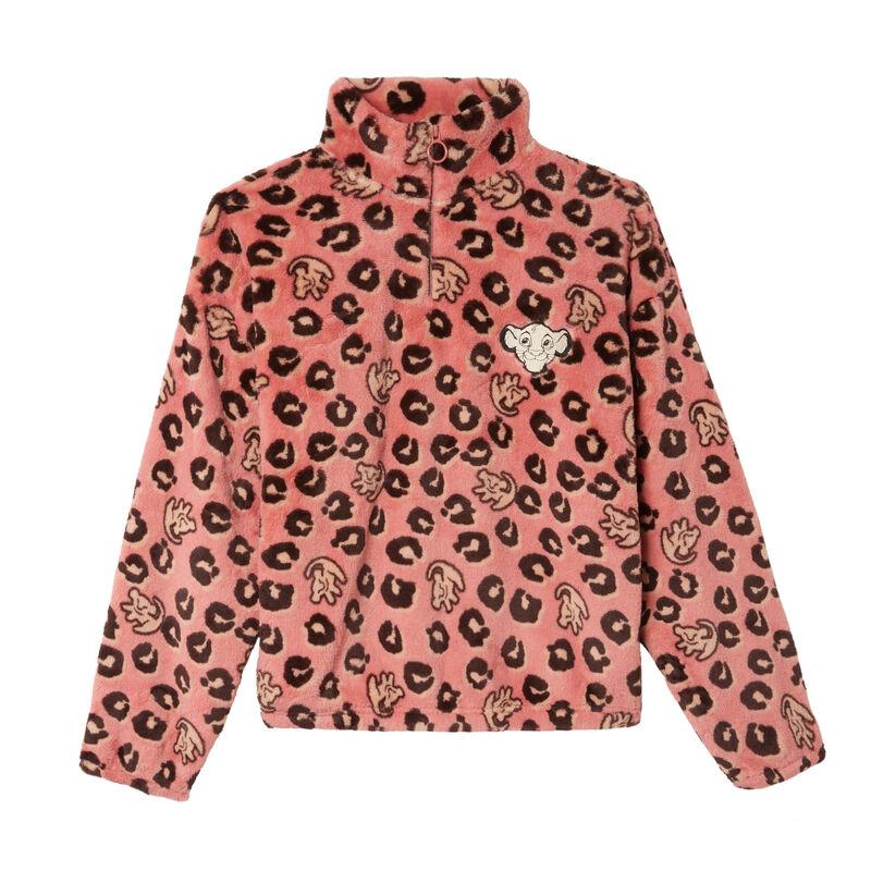 zip-up lion king print fleece - pink;