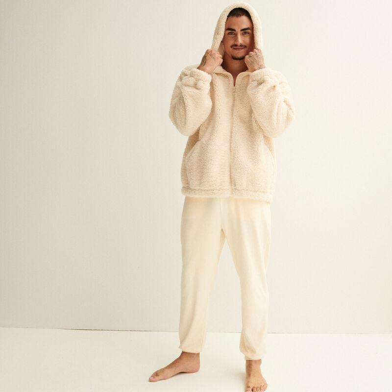 pantalon effet velours et élastique à la taille crème;