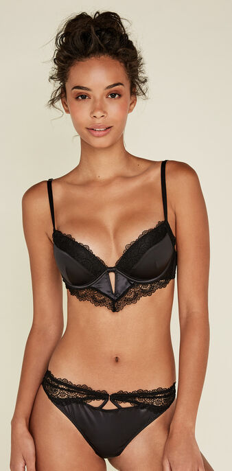 Ajabiz black push-up bra black.