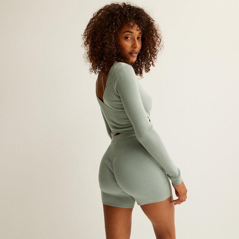 knitted high-waisted shorts - aqua;