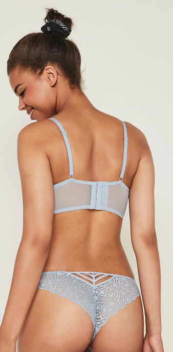 Marceliz lace push-up bustier bra and banding. blue grey.