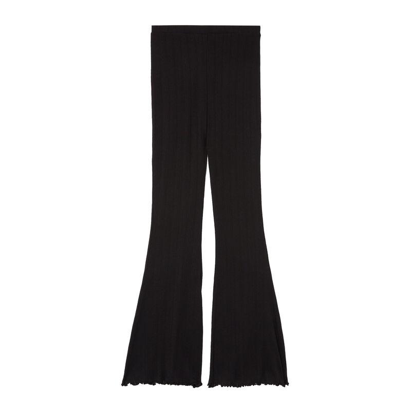 брюки клеш из ажурного трикотажа - черный;