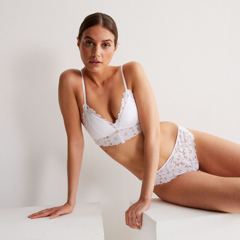 Lace triangle push up bra with jewellery - white;