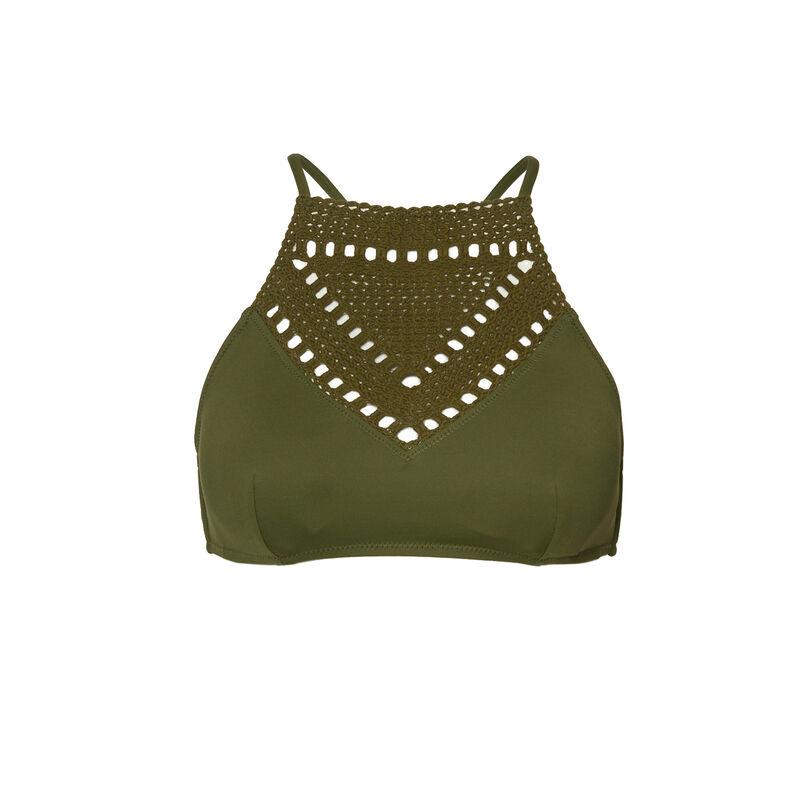 Embroidery-style bikini top - khaki;