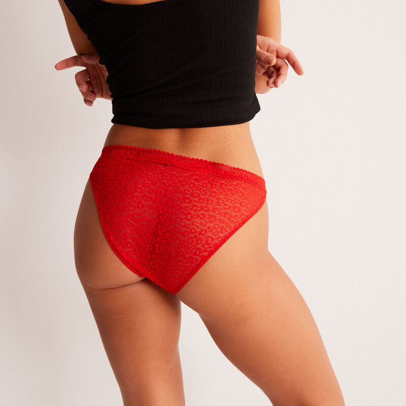 patterned lace briefs - red;
