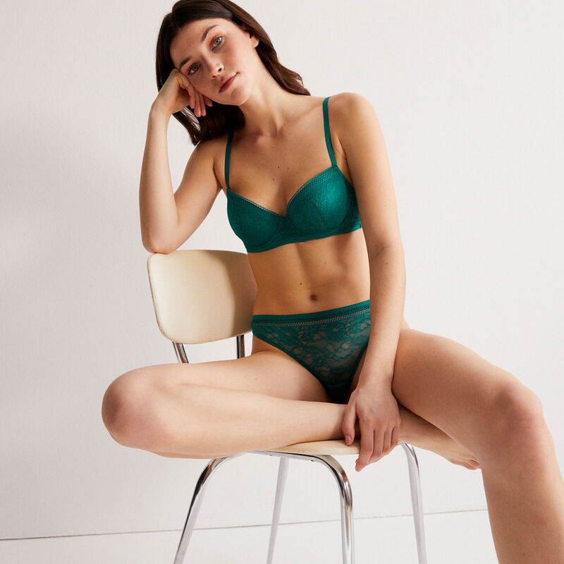 padded lace bra - green;