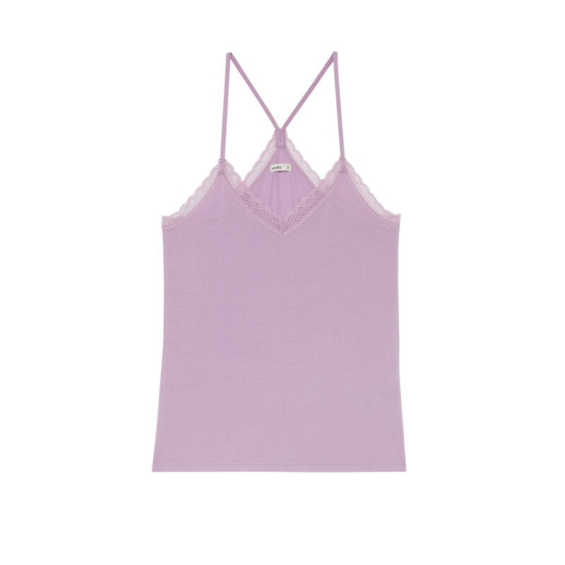 jersey top with spaghetti straps - lilac;
