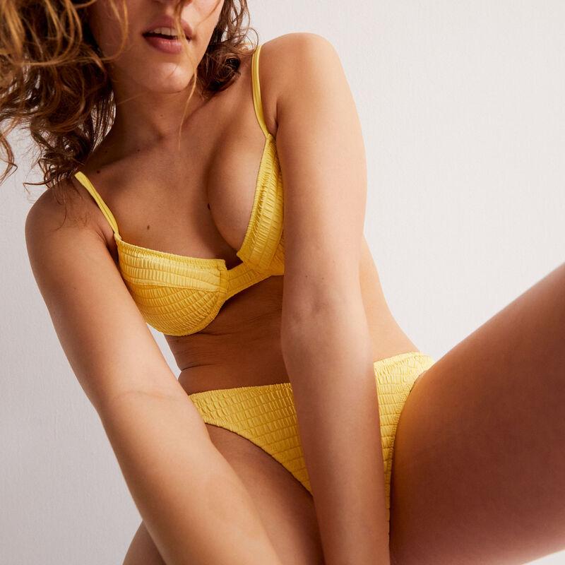 Balconette waffle-effect bikini top - yellow;