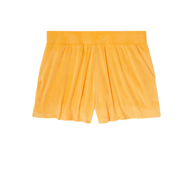 Plain velour shorts - orange;