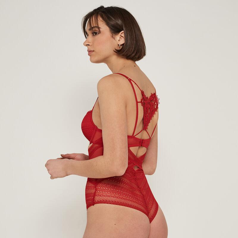 Bigheartiz lace push-up bodysuit with heart detail;