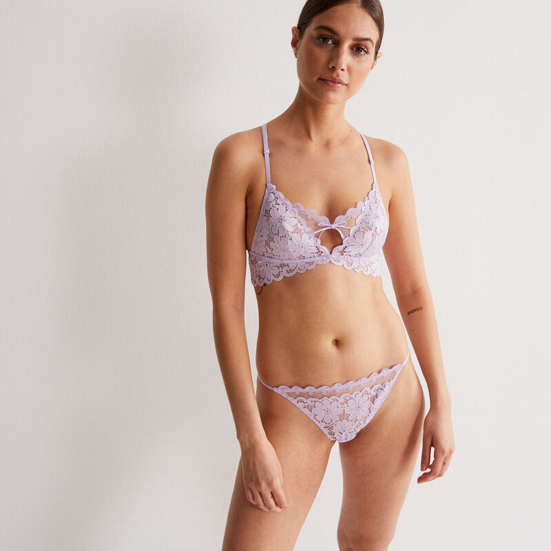 embroidered lace triangle bra without underwiring - lilac;