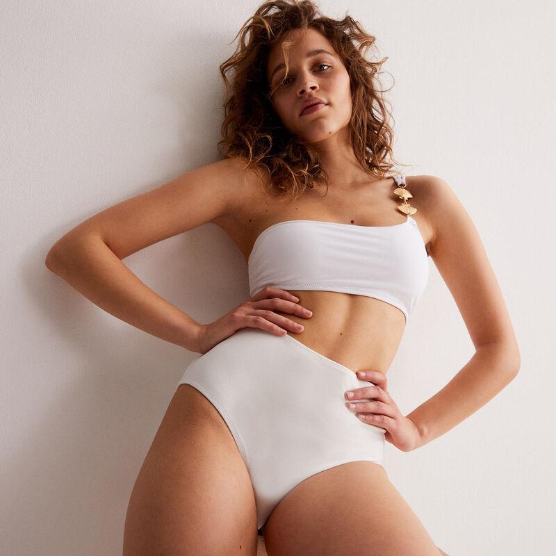 Asymmetric bikini top with shell jewel strap - white;