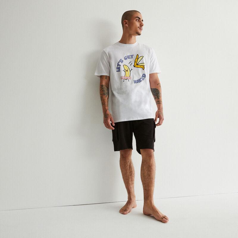 banana print pyjama set - white;