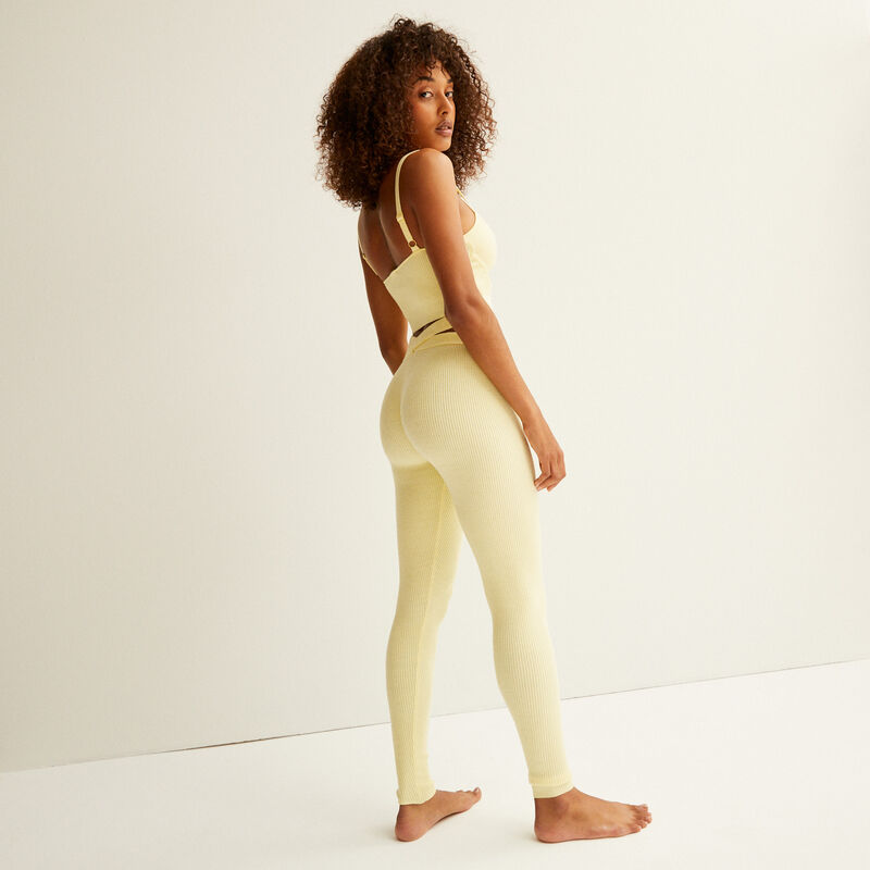 knitted leggings with tie detail - pastel yellow;