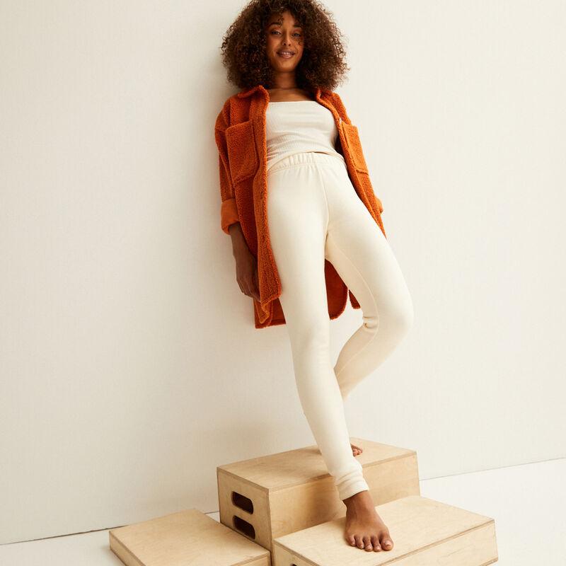 fur-lined leggings - off-white;
