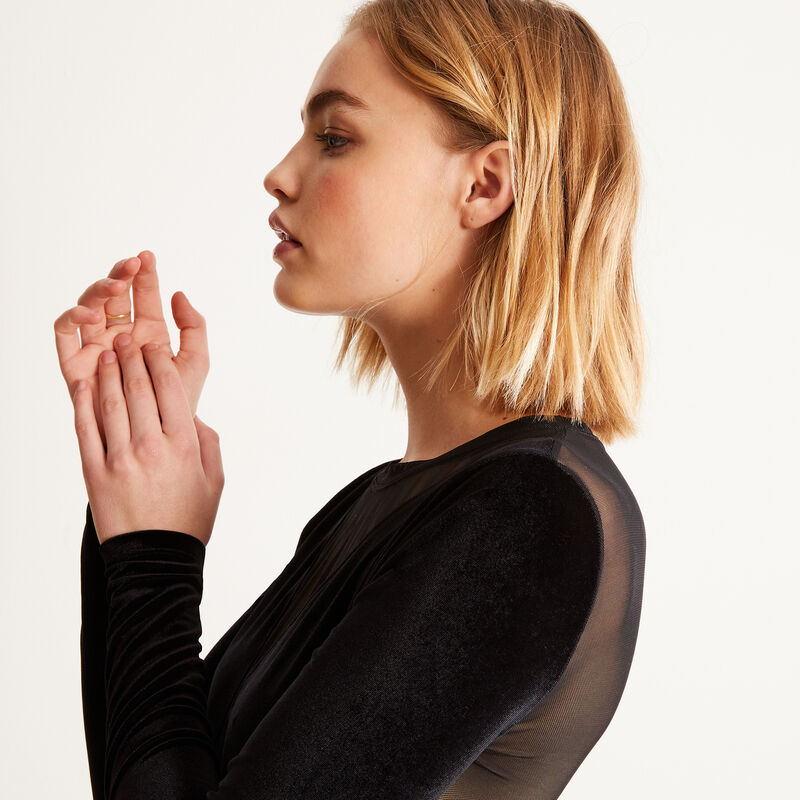 Long-sleeved bodysuit with mesh and velvet - black;