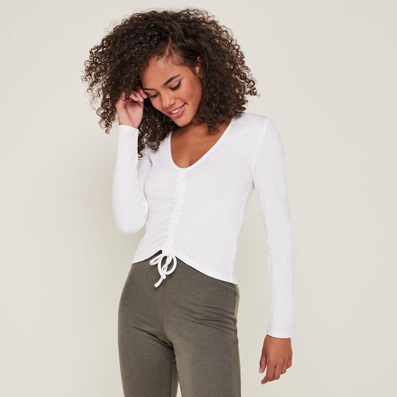 Lacing detail long-sleeved top ;