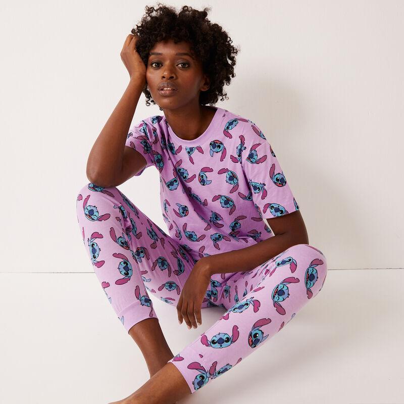 Stitch print top - violet ;