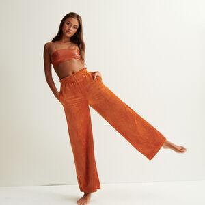 wide velvet trousers - brown