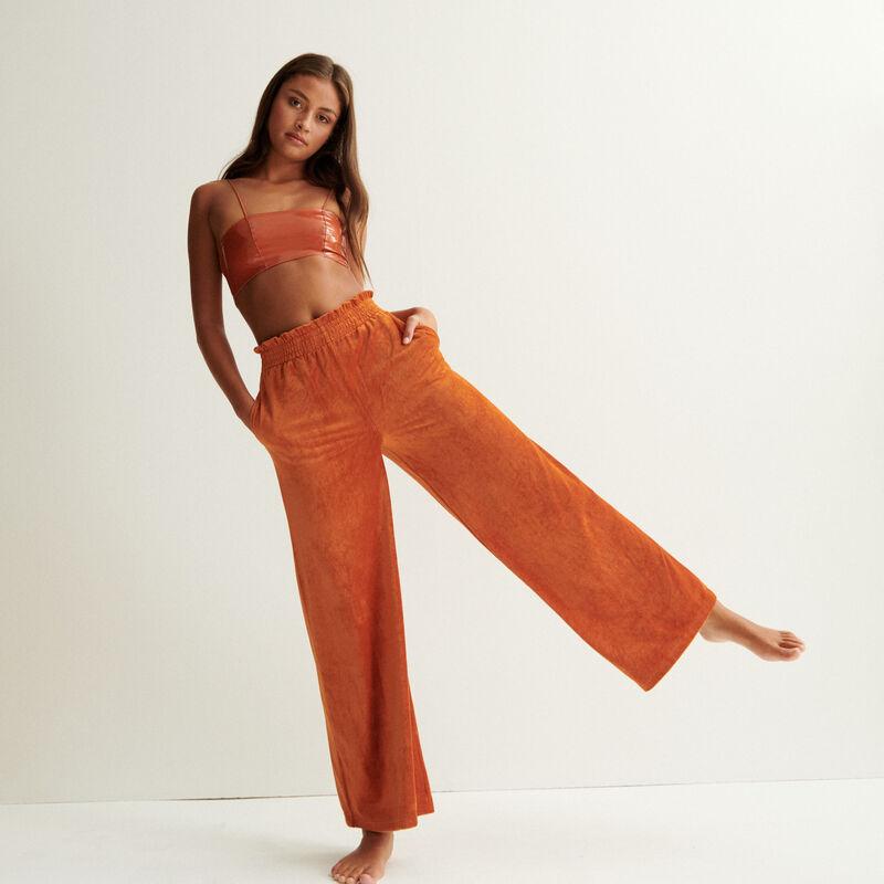 wide velvet trousers - brown;