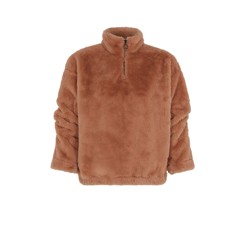 Fleece sweatshirt - brown ;
