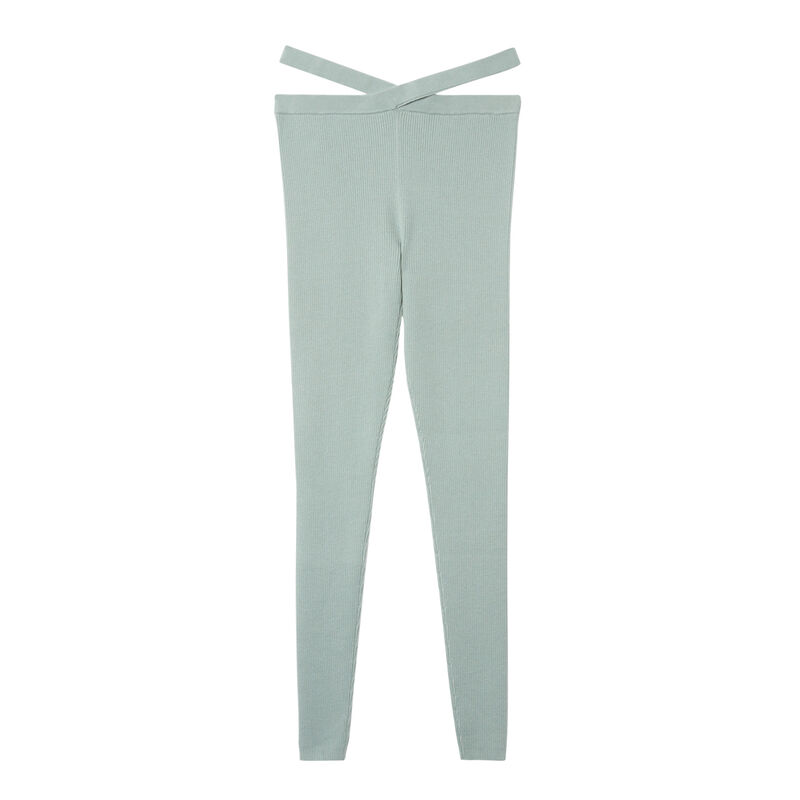 knitted leggings with tie detail - aqua;