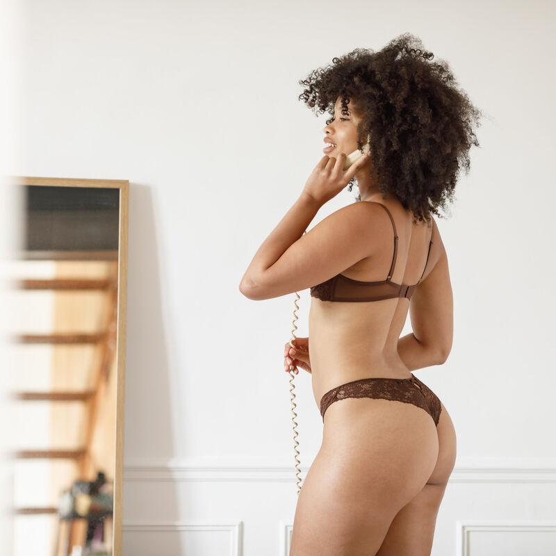 Lace padded bra - chocolate;