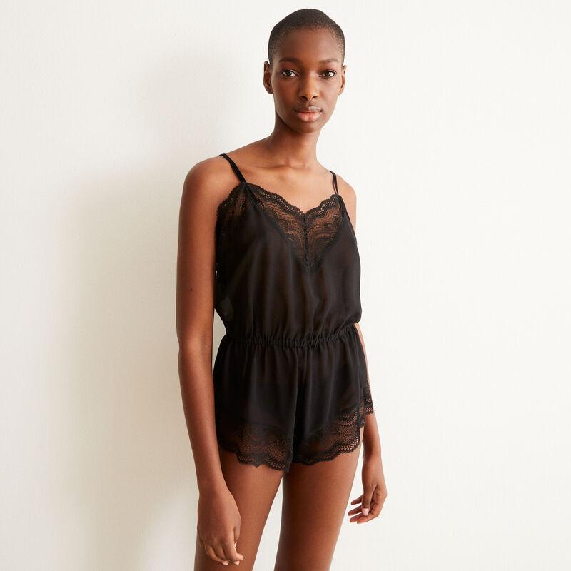 lace playsuit - black;