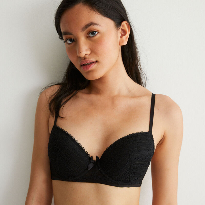 Padded lace bra with bow detail - black;