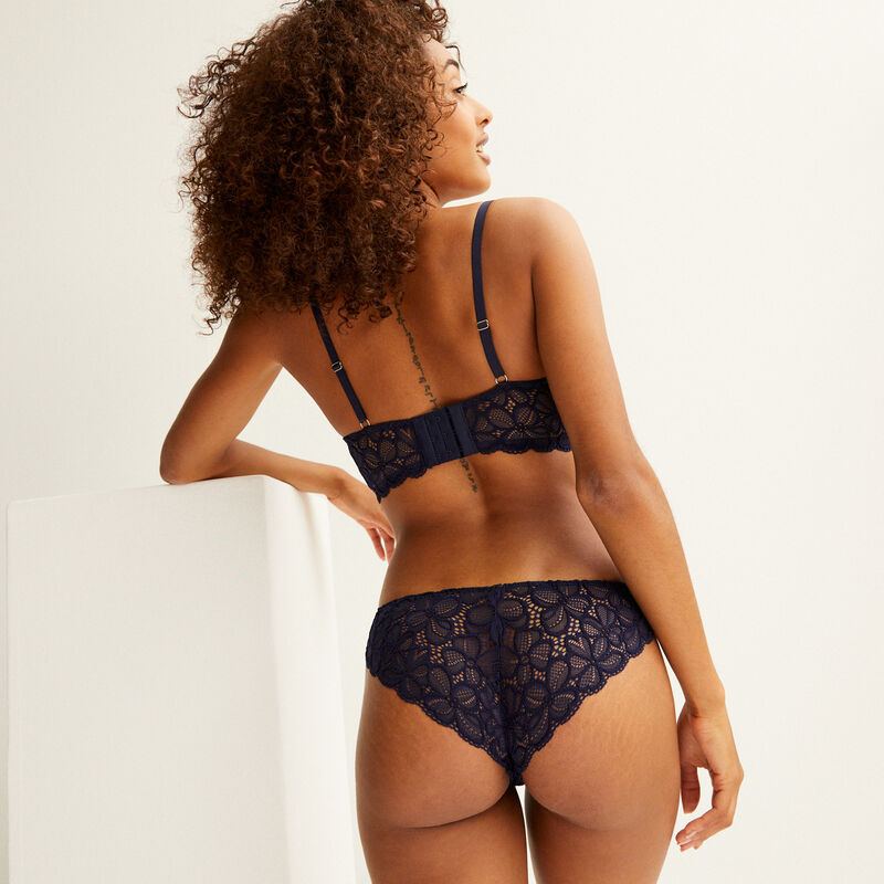 padded bustier bra with lacing - navy blue;