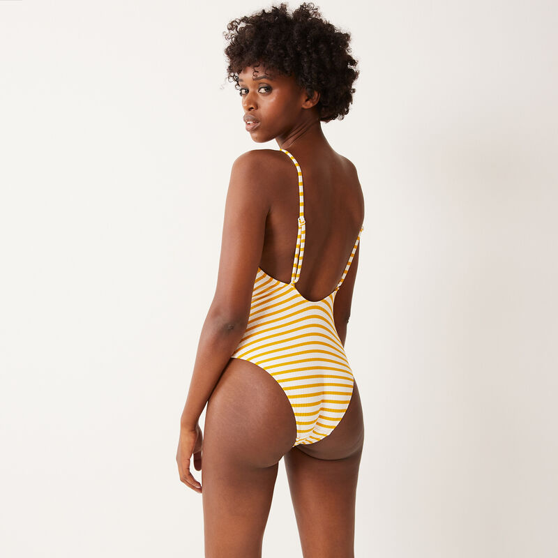 one-piece swimsuit with white stripes - yellow;