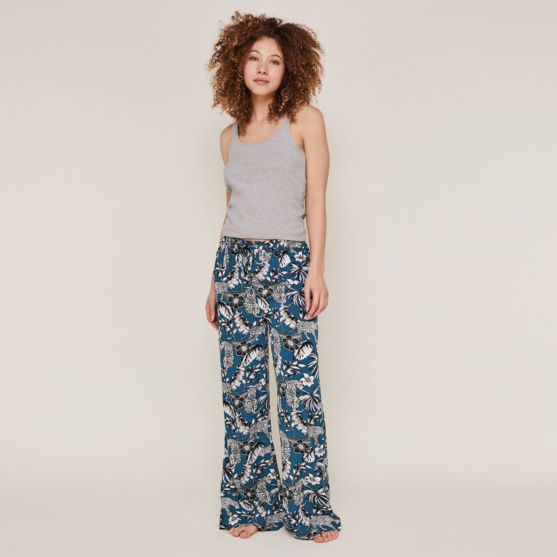 Trousers with floral print - teal ;