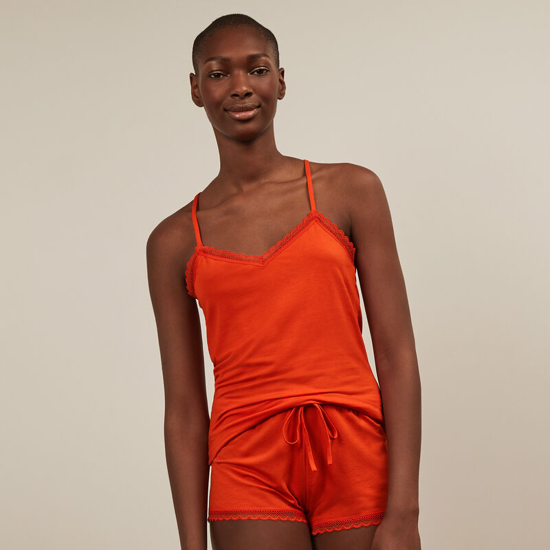 Jersey top with spaghetti straps - red;