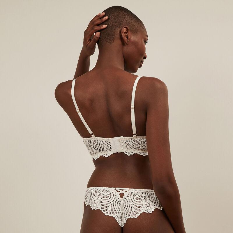 Lace tanga briefs - white;