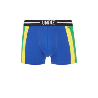 Brasiliz green, yellow and blue boxer shorts  blue.