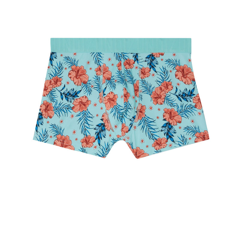 tropical print boxers - turquoise ;