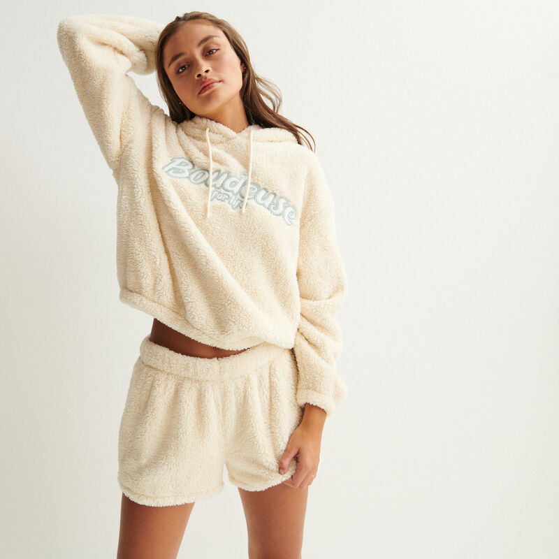 """""""boudeuse for life"""" jogging shorts - off-white;"""
